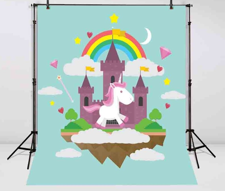 Moon Rainbow Cloud Diamond Star Castle Unicorn Photography Backgrounds Vinyl cloth Computer printed children kids backdrops