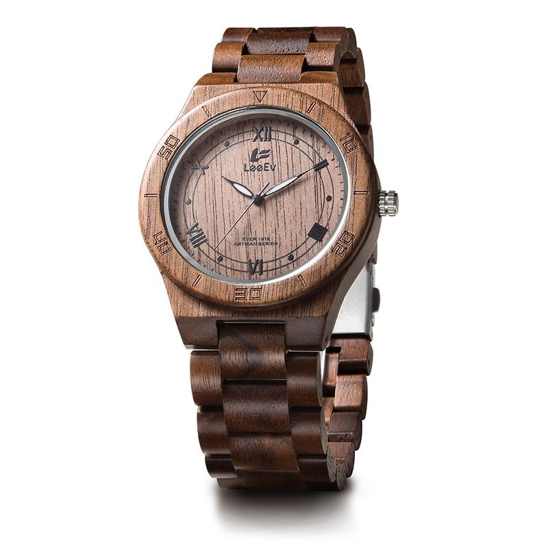 LeeEv EV1918 Mens Natural Walnut Wood Watch Analog Quartz Light Weight Vintage Wooden Wrist Watch