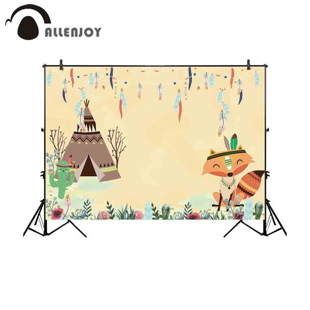 Allenjoy photography backdrop Indian fox cactus feather birthday party background photocall photobooth portrait decoration