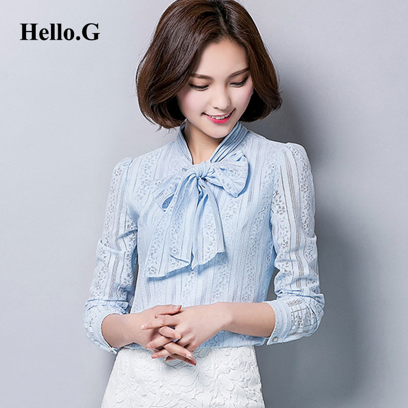 2017 Spring Long Sleeve Formal Blusas Bows Bandage Collar Print Crochet Lace Shirt Women Lace Blouse