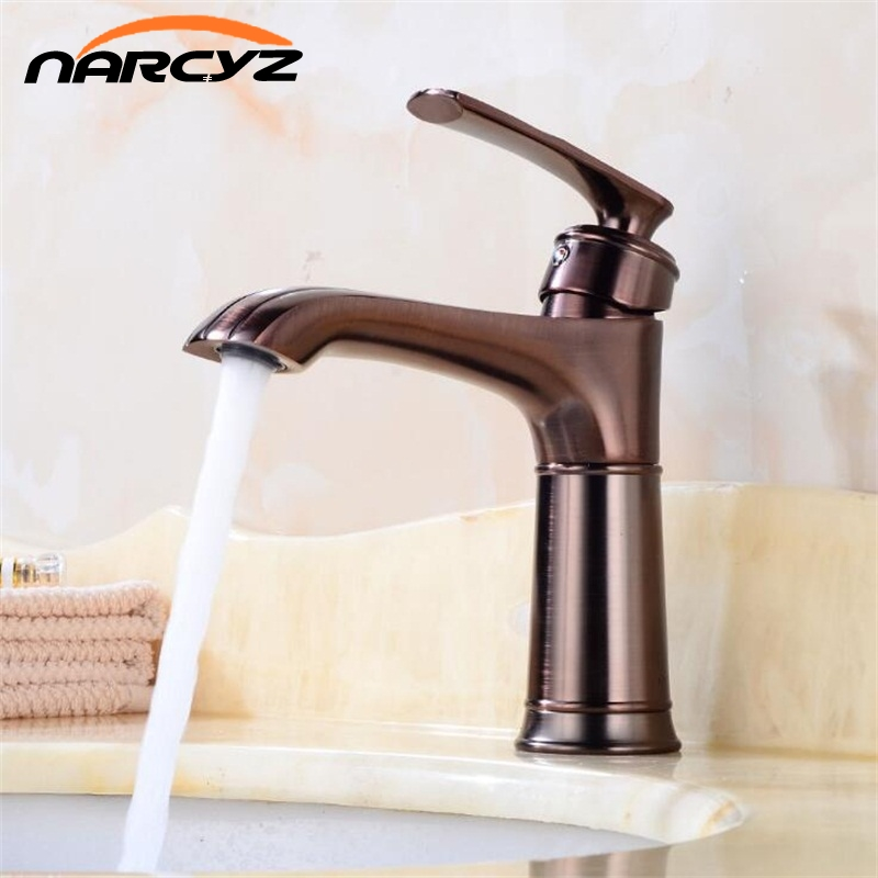 New Basin Faucets Brass Oil Rubbed Bronze Bathroom Sink Faucet Single Lever Deck Washbasin Vessel Water