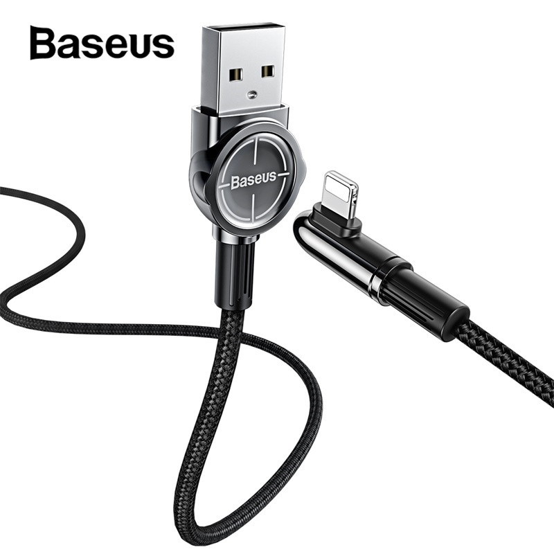 Baseus 90 Degree Reversible USB Cable 2.4A Fast Charging Cable for iPhone X XR Xs 8 7 for Phone Game Mobile Phone Charger Cable-in Mobile Phone Cables from Cellphones & Telecommunications on AliExpress