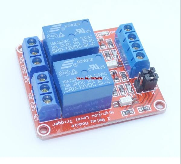 road 12 v relay module with optical coupling isolation support high and low level trigger Two-way relay module 2 - Channel