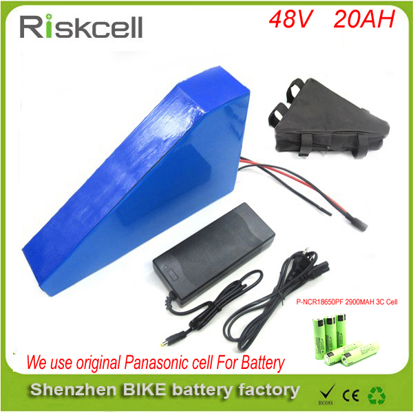 Free customs taxe  48v 1000w triangle e-bike battery 48v 20ah lithium ion battery pack  with 30A BMS ,Charger and Panasonic cell free customs taxes high quality 48 v li ion battery pack with 2a charger and 20a bms for 48v 15ah 700w lithium battery pack