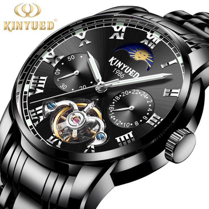 все цены на KINYUED Mens Watches Top Brand Luxury Tourbillon Luminous Clock Men Stainless steel Black Casual Automatic Mechanical Watch
