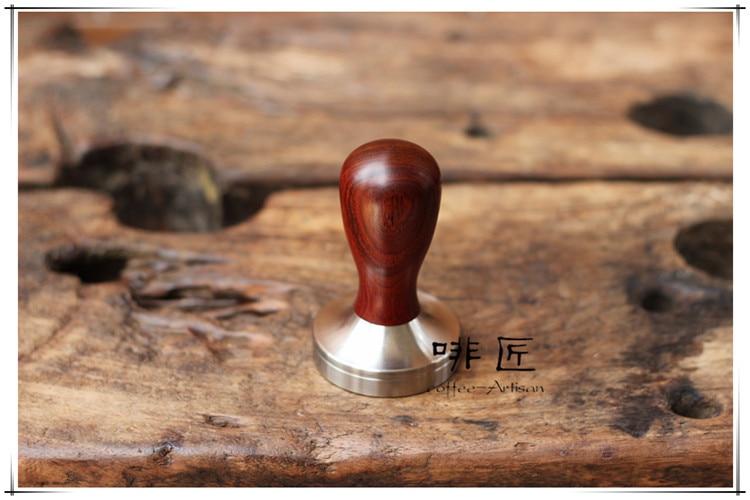 1pc Professional Handmade Dalbergia retusa cocobollo wooden Handle 51 58 58 35mmStainlessSteelbase CoffeeEspresso Tamper Barista