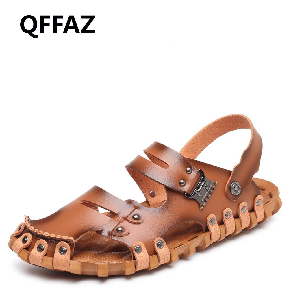 QFFAZ Fashion Style Man Sandals Casual Flat Heels Spilit Leather Male Retro Beach Slipper Mens Roman Summer Shoes Light Sandals