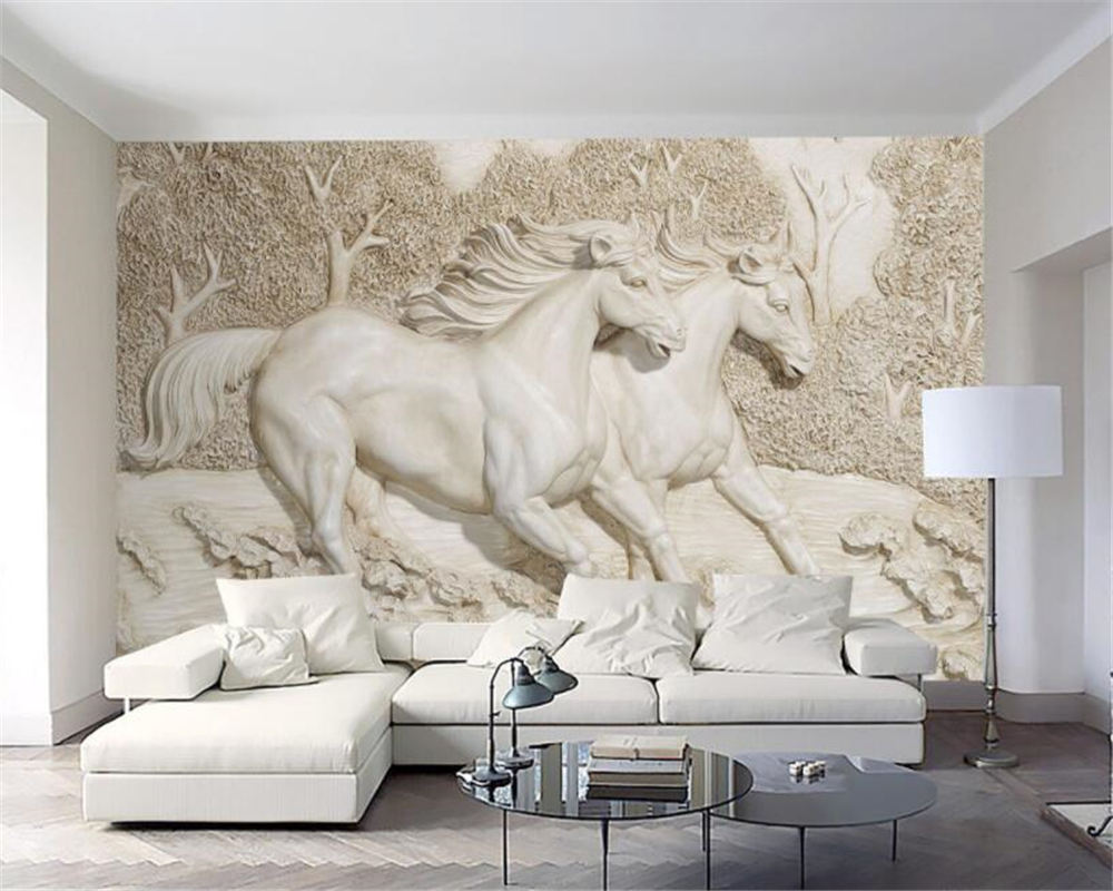 Beibehang Custom mural European high quality 3D stereo relief white horse TV wall papel de parede 3d wall papers home decor the ivory white european super suction wall mounted gate unique smoke door