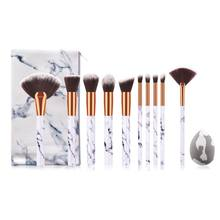 10pcs Pro Makeup Brushes Set Foundation Powder Eyebrow Eyeshadow Brush With Storage bag and Puff(China)