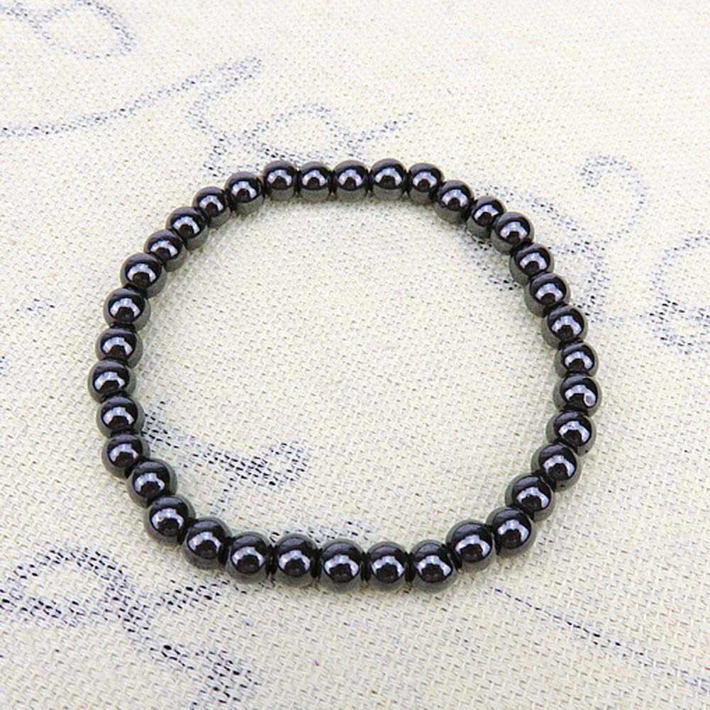 Женский черный 6 мм крутой магнитный браслет бусины терапия с помощью гематита здоровья магнит браслет из Гематитовых бусин мужские ювелирные изделия