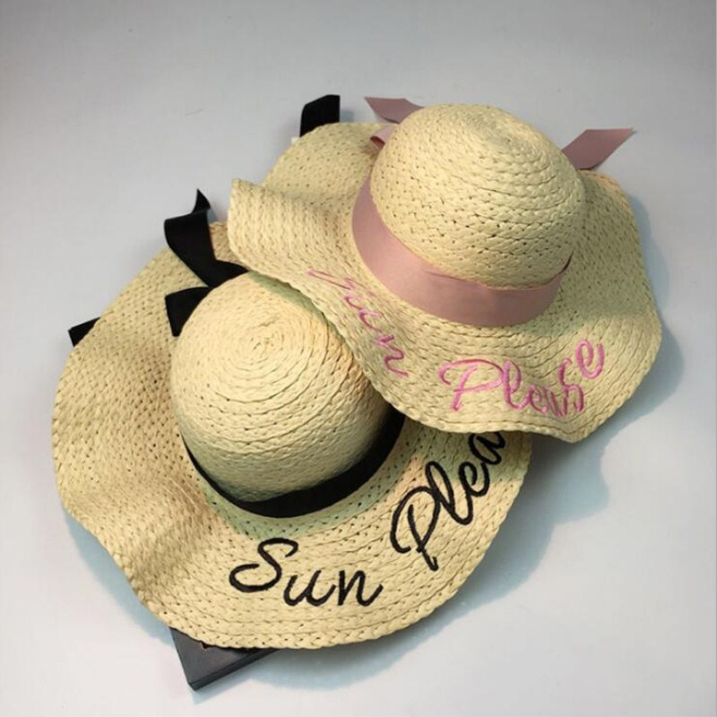 2018  Letter Embroidery Cap Big Brim Ladies Summer Straw Hat Youth Hats For Women Shade Sun Hats Beach Hat