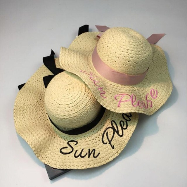 e6ce104f27a 2018 letter embroidery cap Big brim Ladies summer straw hat youth hats for women  Shade sun