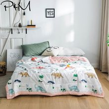 2019 Cartoon Children Dinosaurs Stitching Comforter Summer Quilt Cotton Fabric Quilting Blanket Twin Full Queen Size Bedspread(China)