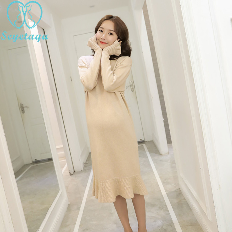 6653# 2018 Autumn Winter Fashion Maternity Sweaters Dress A Line Loose V neck Clothes for Pregnant Women Knitted Pregnancy Wear grrcosy long maternity knitted sweaters dress for pregnancy autumn winter sexy split bottoming dress for pregnant women