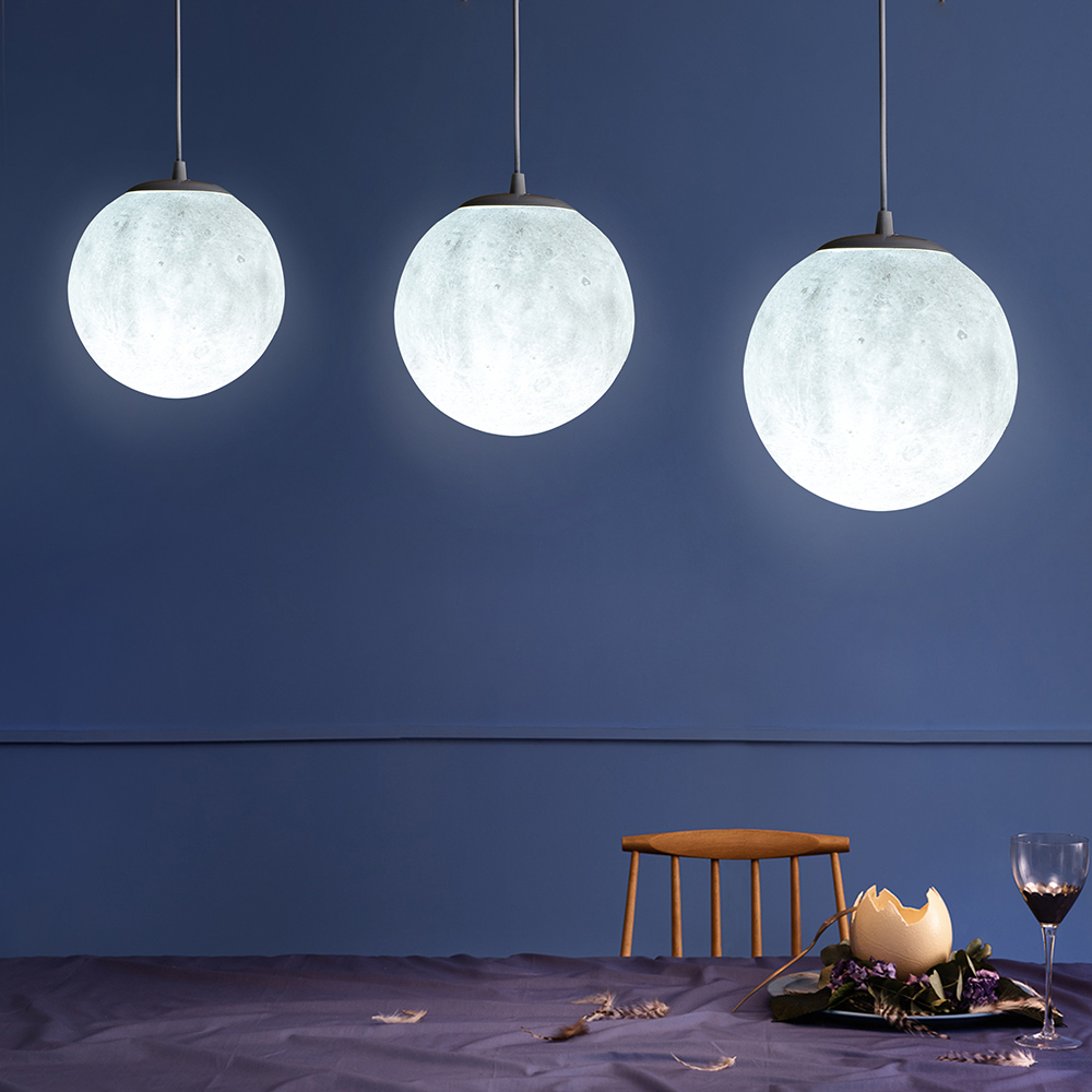 Nordic simple restaurant lamp creative retro personality bedroom art ball moon lanyard pendant lights