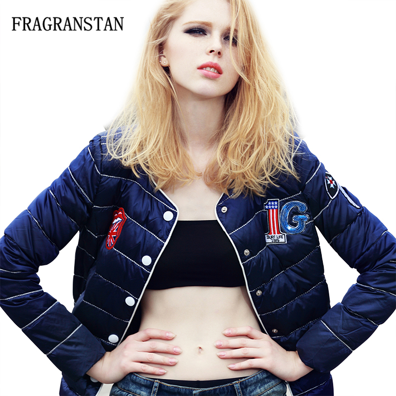 New Fashion Women Winter Blue Baseball Down Jackets Cartoon Embroidery Warm Light Thin Single Breasted Patch