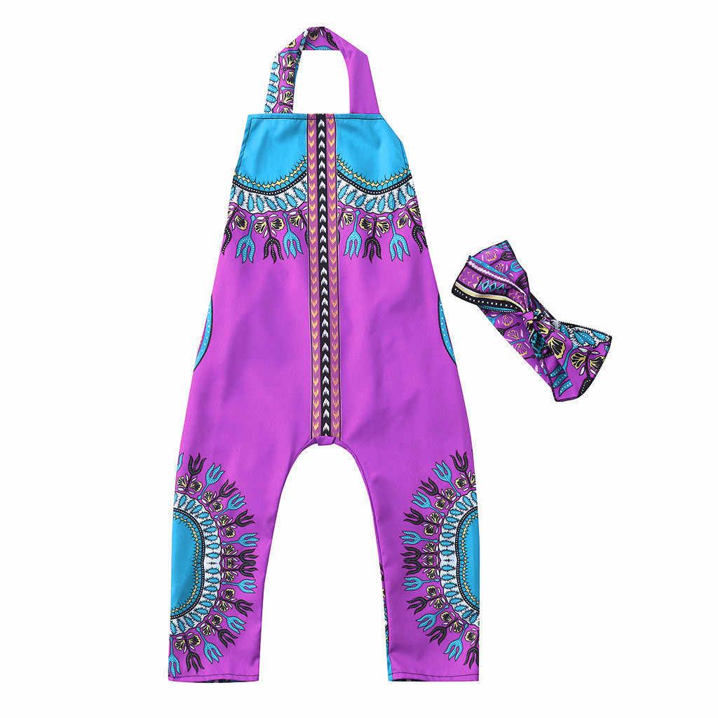 Ropa de verano para niño pequeño, Chico, bebé, niña, algodón, informal, estampado africano, chaleco sin mangas, correa, Tops, mameluco, banda para el pelo, mono, ropa