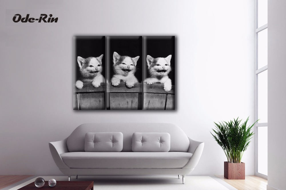 Oderin Three Kittens Modular Pictures 3 Piece Canvas Art No Frame Wall Art Bedroom Drawing Room
