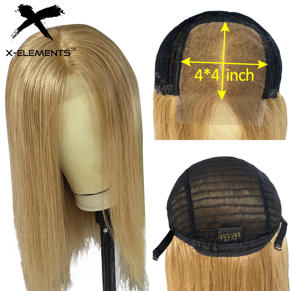 Brazilian Straight Lace Front Human Hair Wigs with Baby Hair 4x4 Lace Closure Wig Remy Ombre