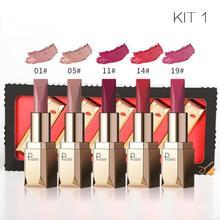 Бренд pudaier новое качество Matte Lip stick 5 шт. комплект макияж Lasting Водонепроницаемый пикантная красная матовая губная помада для губ комплект