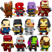 Brickheadz Decool Super-heróis Superman Batman IronMan Marvel Super Heroes Figuras Building Block Bricks legoING DC vingadores Brinquedos(China)