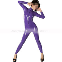 Purple Latex Women Bodysuit Rubber Catsuit with Front Zipper Customized Handmade S LC230