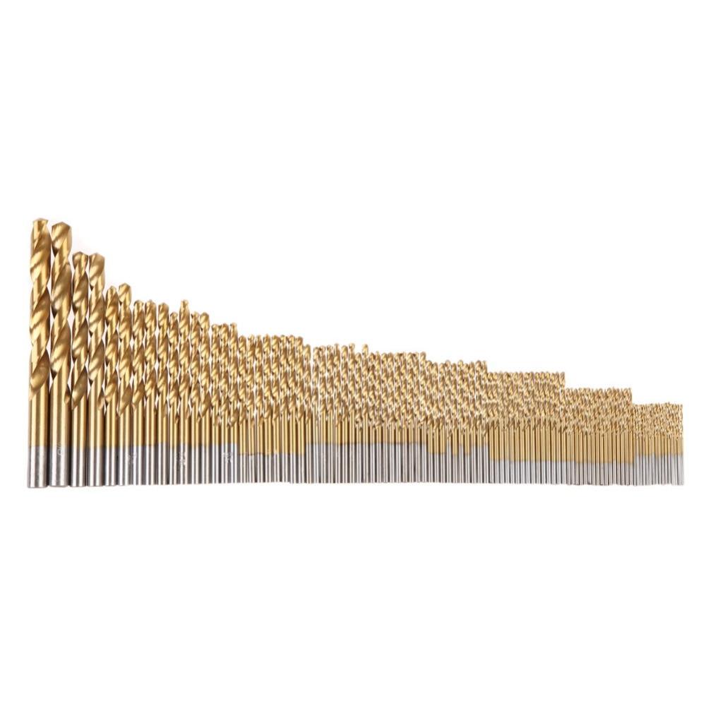 цена на 99 Pcs Manual 1.5mm-10mm Twist Drill Bits Gold Titanium Coated Brocas High Speed Steel Drill for Metalworking Drilling Tools