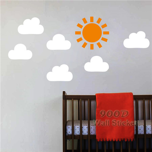 Cartoon Cloud And Sun Wall Stickers Wall Decals, DIY Home ...
