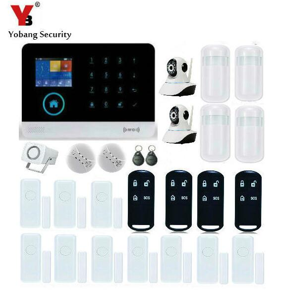 YobangSecurity Touch Keypad Wireless GSM RFID WiFi GPRS Intelligent Alarm Security System with Video IP Camera Smoke Fire Sensor arduino atmega328p gboard 800 direct factory gsm gprs sim800 quad band development board 7v 23v with gsm gprs bt module