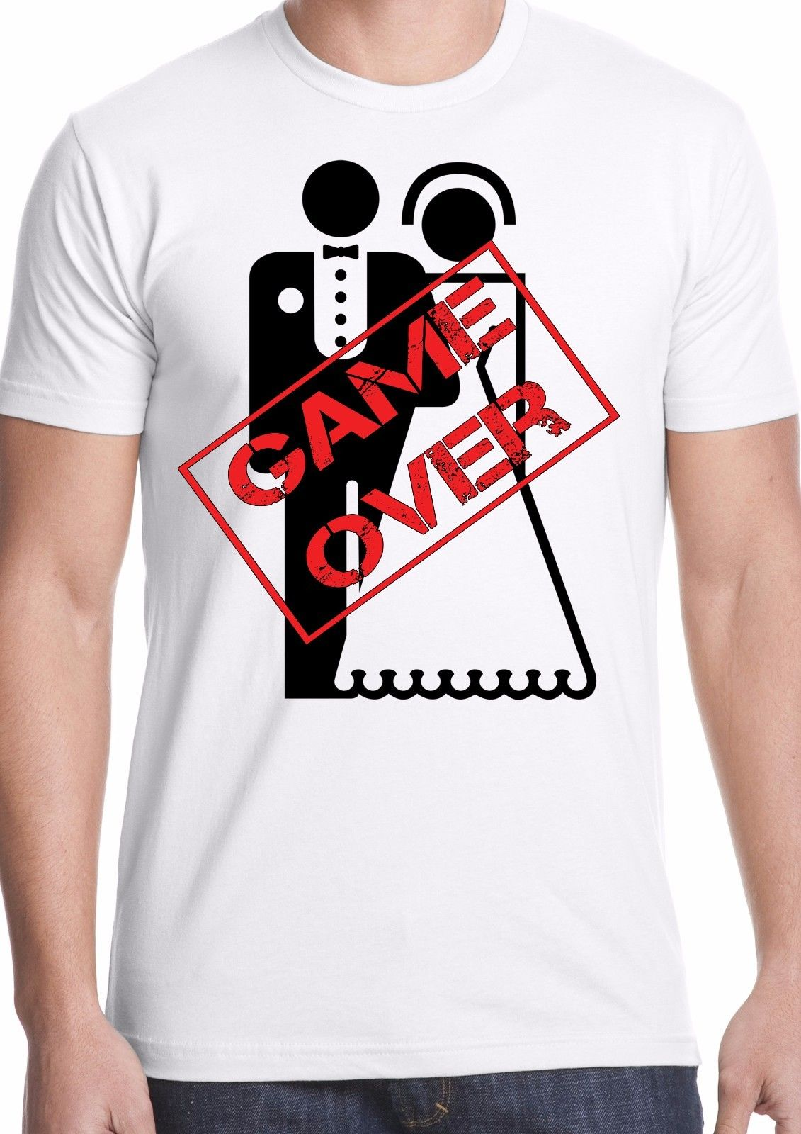 game over t-shirt stag do marriage gift personalised funny humor wedding groom !
