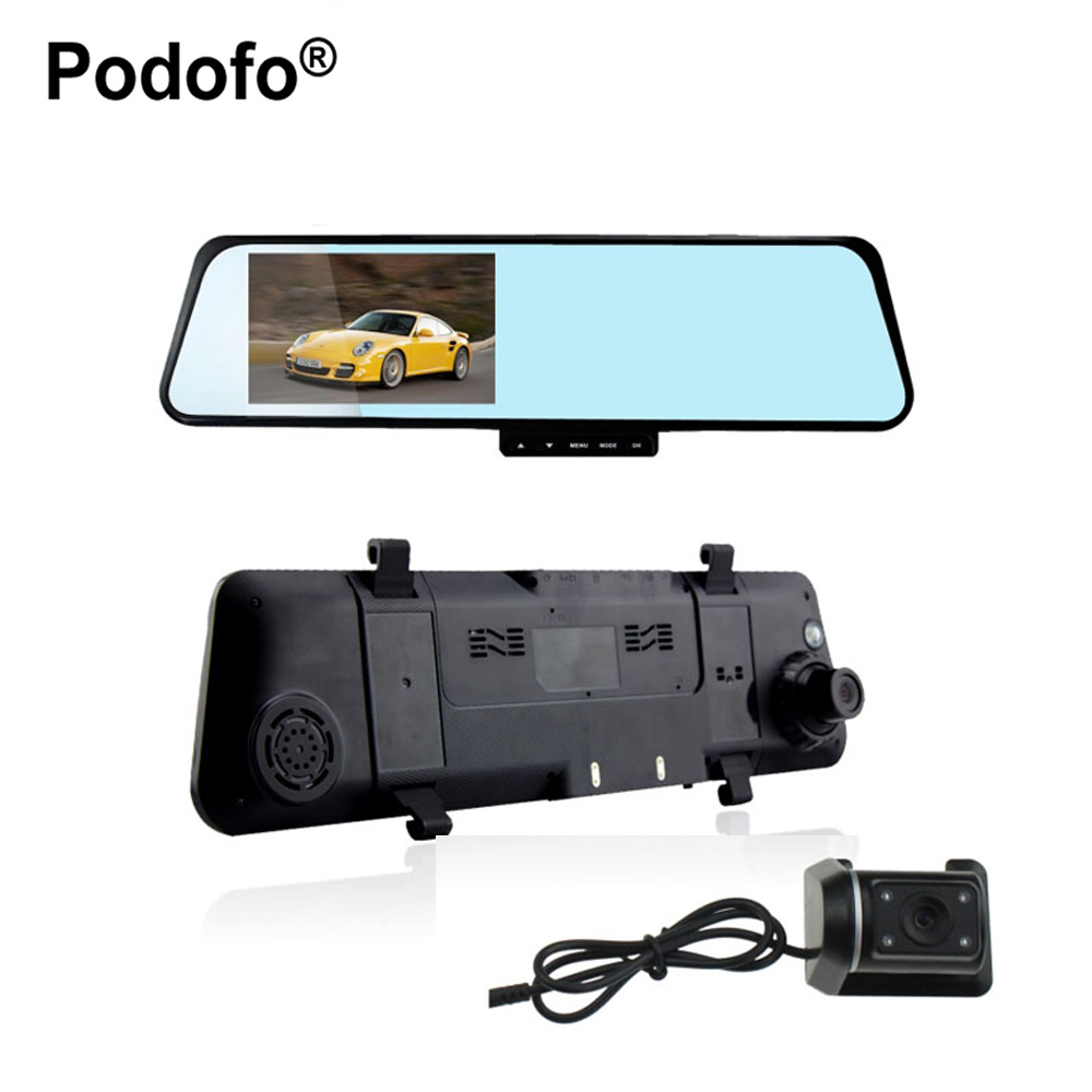 Podofo 4.3 inch Full HD 1080P Car Rearview Mirror DVR Car Camera Parking Night Vision Car DVR Dual Camera Video Recorder H170 цена