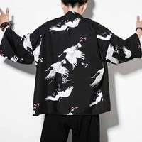 Summer Fashion Men Clothing Harajuku Japan Style Loose Cardigan T Shirts Cool Breathable Three Quarter Crane Printed Tee Shirt