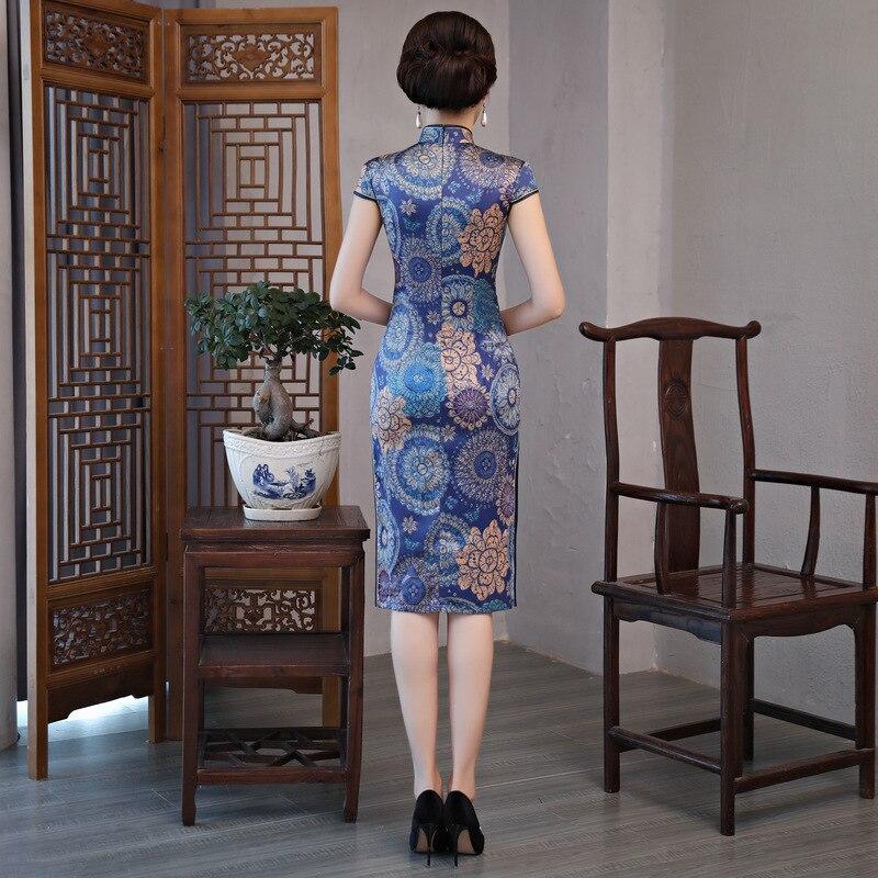Arrivée 3xl Nouveauté 288 Style Dame Chinois Cheongsam Col Taille Élégant Mince M Femmes Robe Nouvelle Imprimer Qipao Mandarin Fleur Court p1dqx1U5w