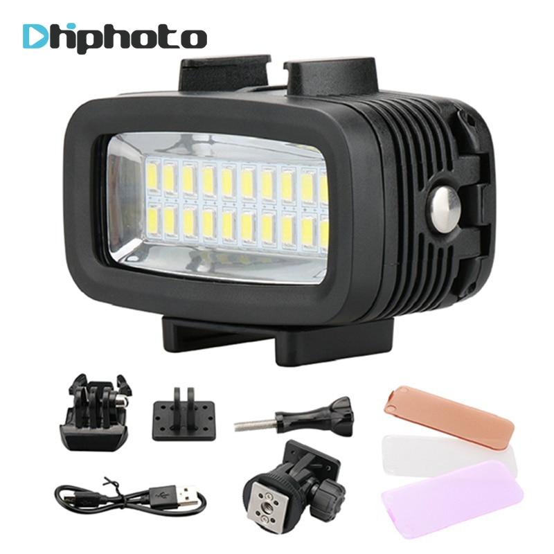20 Underwater 5500K LED Video Light 40M 130ft Diving Gopro Lighting Fill in Lamp 700LM for GoPro Hero 6/5/4 SJCAM Yi DSLR Camera все цены
