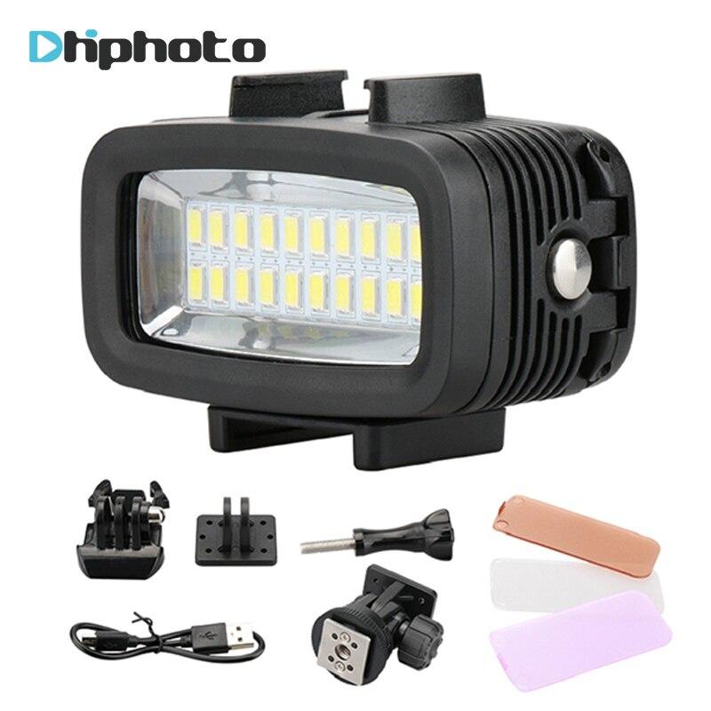 20 submarino 5500 K Luz de vídeo LED 40 m 130ft buceo Gopro iluminación rellene lámpara 700LM para GoPro Hero 6/5/4 SJCAM Yi cámara DSLR