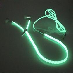New glow in the dark earphone metal zipper luminous earphones night lighting glowing headset with mic.jpg 250x250