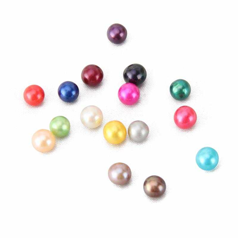CLUCI 6-8 mm Akoya Pearl Bead for Women Jewelry Making Cultured Saltwater Pearl Beads Women 16 Color Round Akoya Loose Pearl
