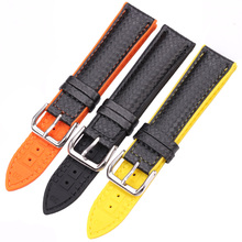 HENGRC Watchbands Leather + Rubber Women Men 18mm 20mm 22mm Watch Strap Bracelet With Steel Buckle Black Yellow Orange hengrc rubber watchband 22mm universal silicone watch band strap with vintage stainless steel buckle red black brown orange