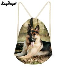 Ladies Fashion Backpack German Shepherd Printing Drawstring Backpacks Women String Beach Bags for Kids Mini Bagpack Bolsa Custom(China)