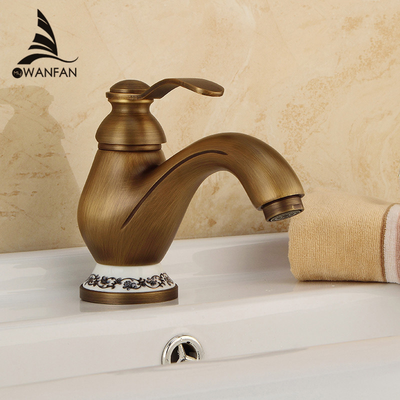 Basin Faucets Antique Brass Deck Mounted Bathroom Sink Faucet Single Handle Hole Ceramic Deco Toilet Mixer Tap WC Taps DZ-8009F стоимость