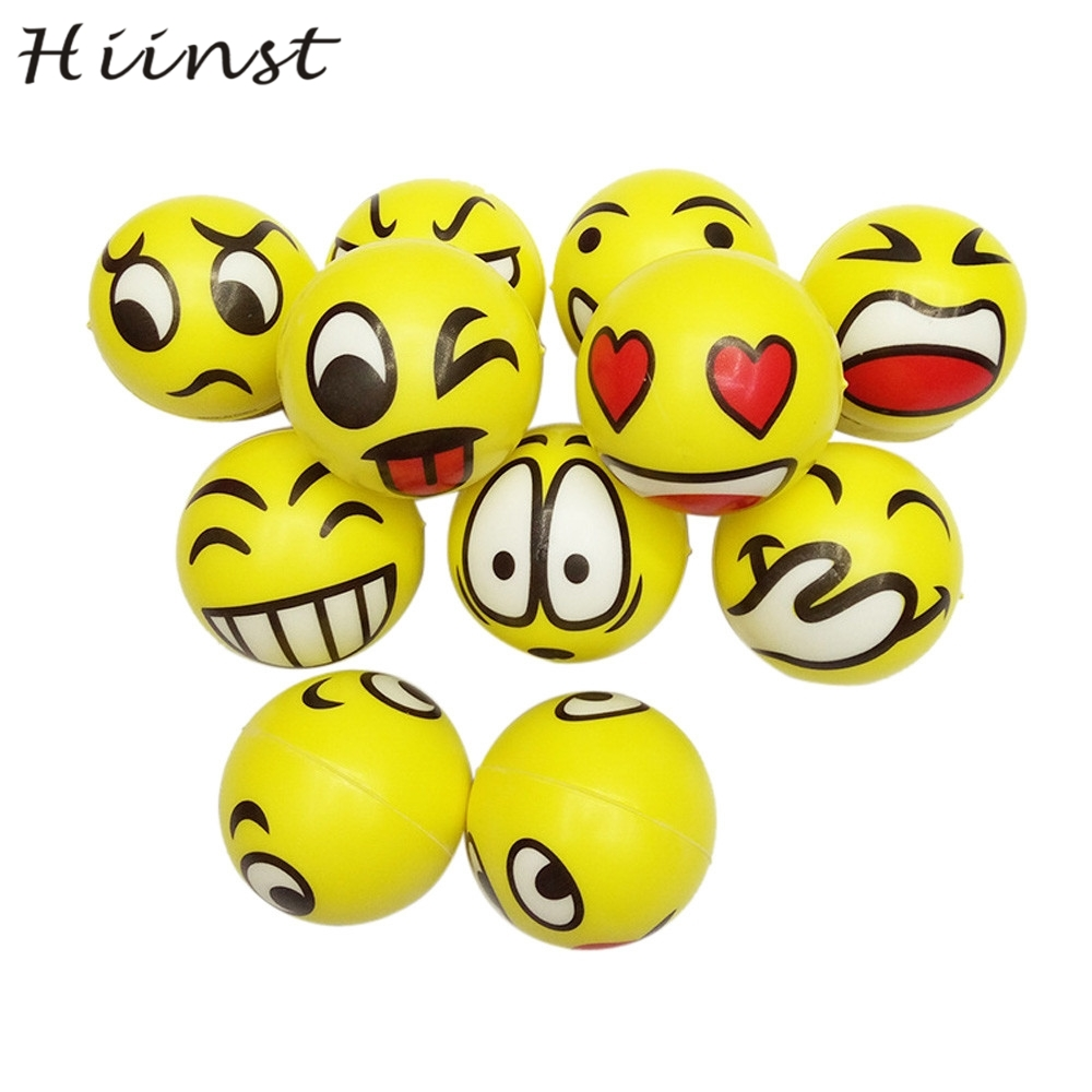HIINST Foam Ball Squeeze Exercise Anti Stress 2pcs Happy Smile Face Relief Sponge Hand Wrist drop ship AUG1540