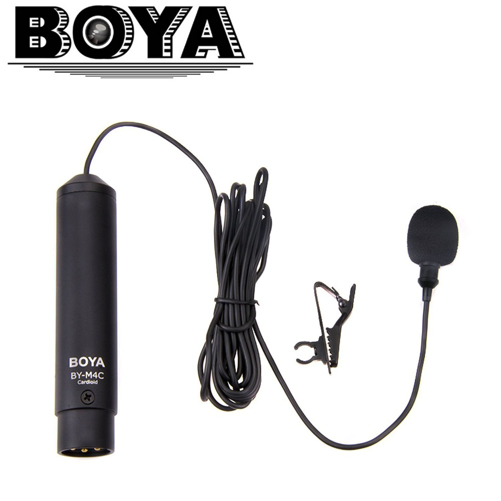 BOYA Profesional Clip-On Cardioid XLR Lavalier Microfon BY-M4C pentru Sony Canon Panasonic Camere video Zoom Audio Recorders