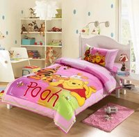 pink winnie the pooh cartoon comforter bedding set single twin size quilt duvet covers coverlet cotton Girls bedroom decor 3 5pc