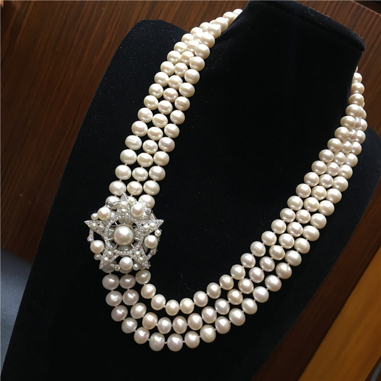0b7f64caa65f Mano natural 3 filas 7-8mm blanco perla disco estrella collar de los  accesorios del