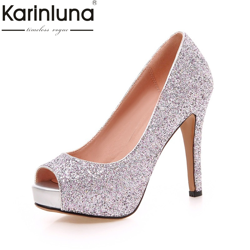 KARINLUNA New Large Size 34 43 Peep Toe Platform Women Shoes Woman Sexy Bling Upper Thin