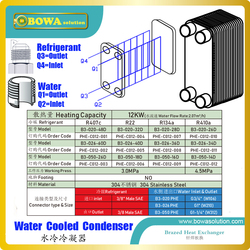 12KW PHE condenser with male SAE and BSP thread connection is easy and quick to connect tubes, saving assemblying & repare costs