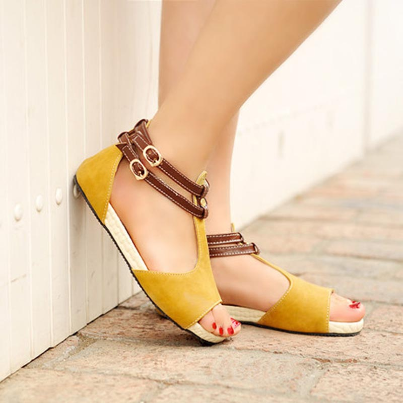 87f8fac49242 Women Peep Toe Flats Sandals Ankle Strap Shoes Woman Flat Sandal Ladies  Casual Fretwork Cut Outs Footwear Size 34 43 PA00274-in Women s Sandals  from Shoes .
