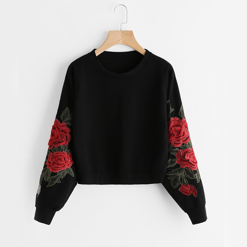 ROMWE Rose Embroidery Sweatshirt Women Vintage Black Long Sleeve Autumn Pullover 2019 New Applique Casual O Neck Sweatshirt