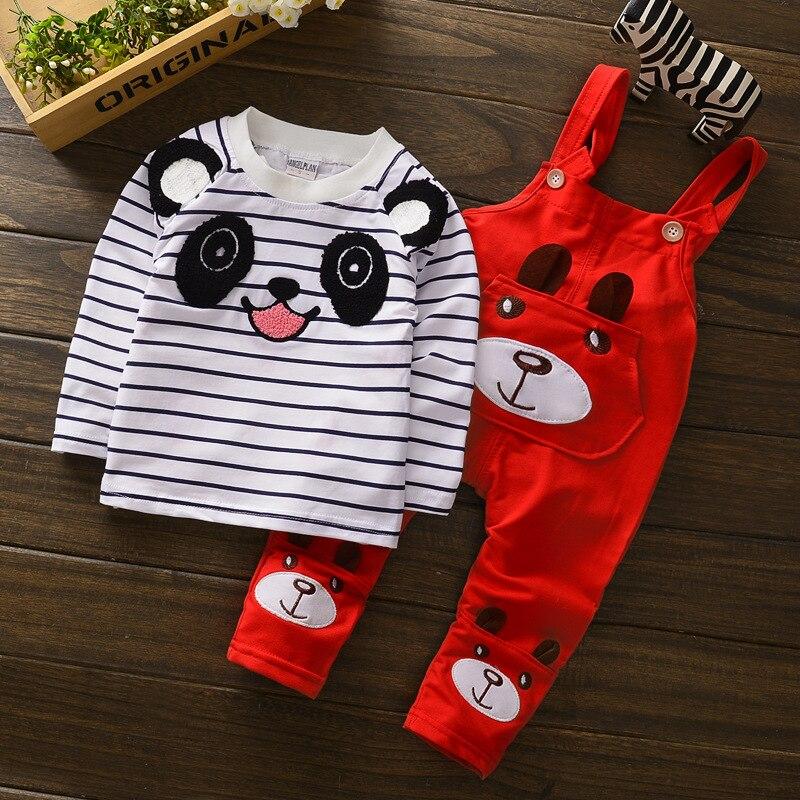 Baby Girl boy Kombinezony odzież zestaw panda Dzieci Ubrania słodkie pończoch spodnie + T Shirt w paski Kombinezony Dla 1 2 3 4 lat