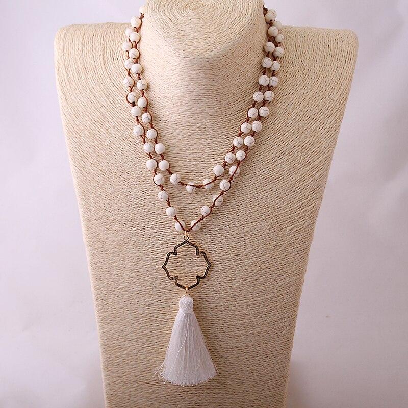 Mode Perle Cordon Tissage Gland Collier Bohème Bijoux longue avec or fleur charme Collier blanc Naturel Pierre Halsband